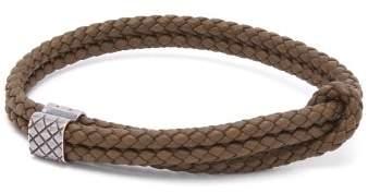 Bottega Veneta Double Intrecciato Woven Leather Bracelet - Mens - Khaki