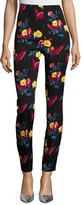 Diane von Furstenberg High-Waisted Skinny Pants, Black Floral