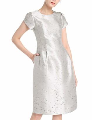 APART Fashion Women's Apart Elegantes Damen Kleid Cocktailkleid aus glanzendem Jacquard Kurze Tulpenarmel Special Occasion Dress