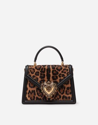 Dolce & Gabbana Medium Devotion Bag In Pony Skin Effect Calfskin With Leopard Print