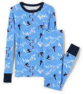 Classic Toddler Boys Snug Fit Pajama Set-Cool Blue Skiers