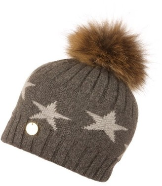 Popski London Charcoal Starry Hat With Natural Pom Pom
