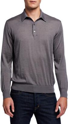 Charvet Men's Solid Long-Sleeve Polo Shirt