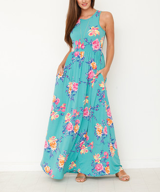 egs by eloges Women's Maxi Dresses mint - Mint Floral Side-Pocket Maxi Dress - Women