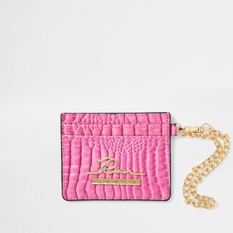 River Island Womens Pink croc embossed card holder wallet