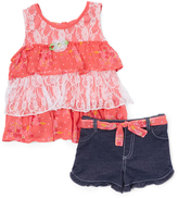 Children's Apparel Network Pink Floral Lace Tiered Tunic & Denim Shorts - Girls