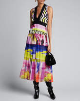 Fuzzi Printed V-Neck Sleeveless Scallop Trim Maxi Dress