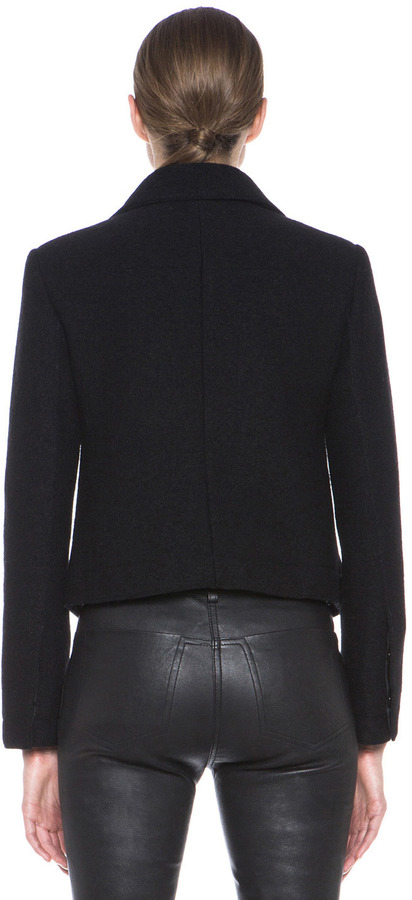 Carven Crushed Wool Jacket in Black