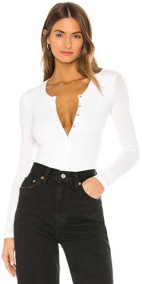 ATM Anthony Thomas Melillo Micro Modal Long Sleeve Henley Bodysuit