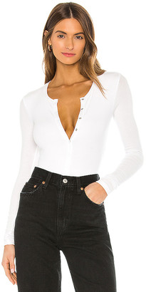 ATM Anthony Thomas Melillo Micro Modal Long Sleeve Henley Bodysuit