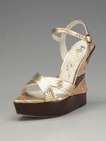 Alice + Olivia Cate Metallic Viper Wedge Sandal