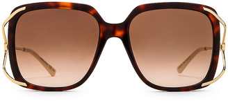 Gucci Vintage Inspired Fork Sunglasses in Shiny Red Classic Havana | FWRD
