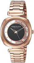 Kenneth Cole New York Women's 'Transparency' Quartz Brass-Plated and Stainless Steel Dress Watch, Color:Rose Gold-Toned (Model: KC15108001)