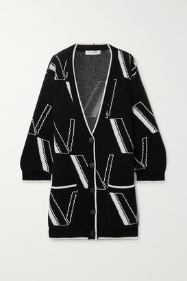 Valentino Oversized Intarsia Wool And Cashmere-blend Cardigan