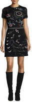 Valentino Cosmo Embroidered Short-Sleeve Dress, Black/Multi