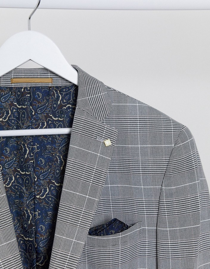 Thumbnail for your product : Burton Menswear Big & Tall slim suit jacket in grey prince of wales check