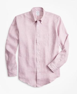 Brooks Brothers Regent Fit Gingham Irish Linen Sport Shirt