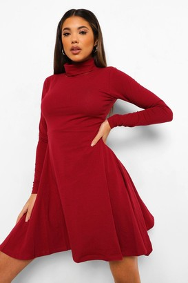 boohoo Long Sleeve High Neck Skater Dress