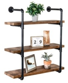Honey-Can-Do 3-Tier Black Industrial Wall Shelf