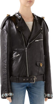 Gucci Embroidered Shiny Leather Biker Jacket