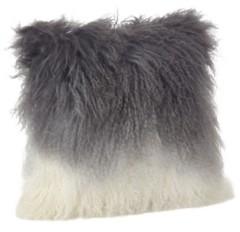 """Saro Lifestyle Mongolian Lamb Fur Ombre Throw Pillow, 16"""" x 16"""""""