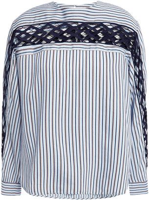 Sandro Guipure Lace-paneled Striped Poplin Top