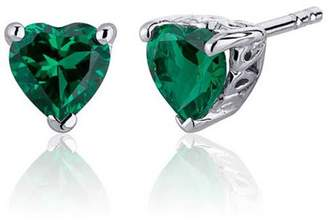 Oravo 1.5 ct Heart Shape Green Simulated Emerald Stud Earrings in Sterling Silver
