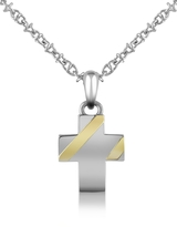 Forzieri Stainless Steel Cross Pendant Necklace