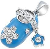 Bling Jewelry Enamel CZ Flower Baby Shoe Charm Pendant 925 Silver