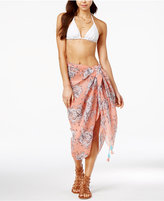 Steve Madden Pleated Hibiscus Wrap Swim Cover-Up