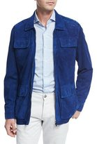 Isaia Perforated Suede Safari Jacket, Blue