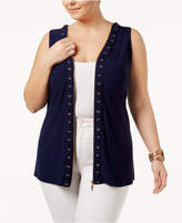 Belldini Plus Size Zipper-Trim Top