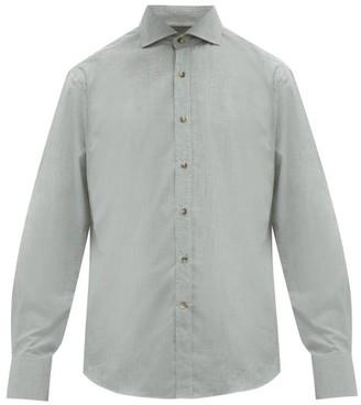 Brunello Cucinelli Cutaway-collar Cotton-chambray Shirt - Mens - Grey
