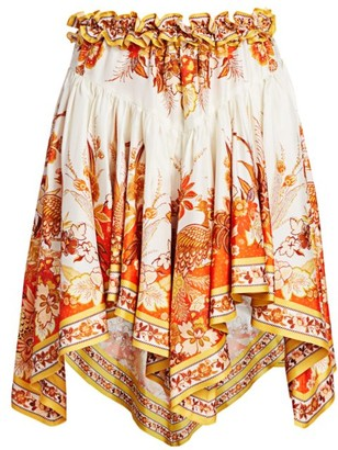 Zimmermann Brightside Placement Silk Handkerchief Mini Skirt