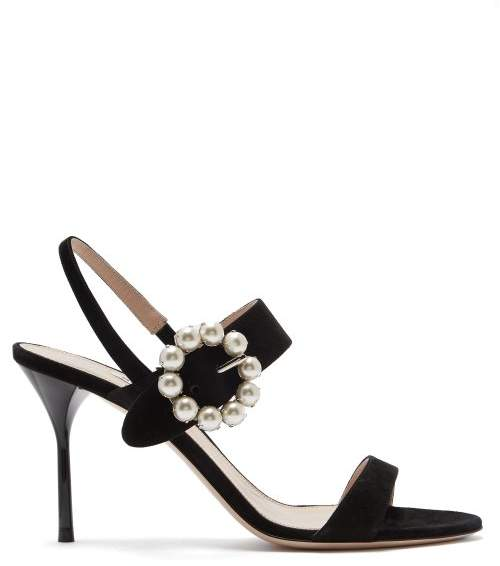Miu Miu Faux Pearl Embellished Suede Sandals - Womens - Black