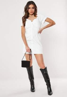 Missguided Cream Milkmaid Mini Shift Dress