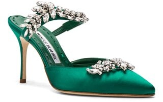 Thumbnail for your product : Manolo Blahnik Satin Lurum 90 Heels in Green