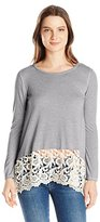 Jolt Women's Long Sleeve Knit Top with Crochet Hem