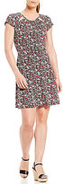 MICHAEL Michael Kors Brooks Floral Print Cut-Out Shirred Neck Flare Dress