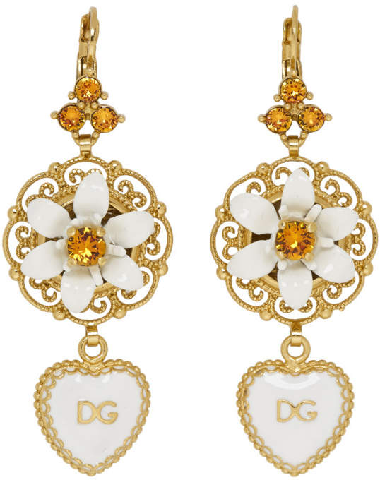 Dolce & Gabbana Gold and White Heart Flower Earrings