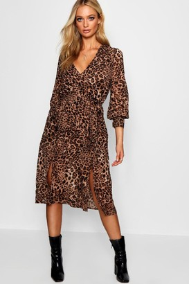 boohoo Wrap Front Leopard Print Midi Dress