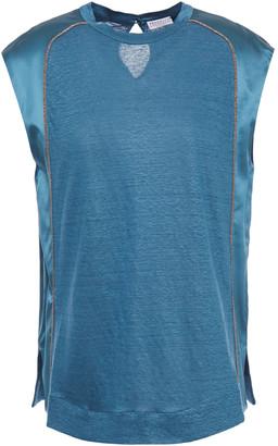 Brunello Cucinelli Satin-paneled Bead-embellished Linen And Silk-blend Jersey Top
