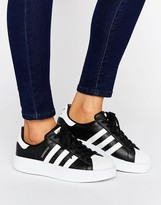 adidas Bold Double Sole Black And White Superstar Trainers