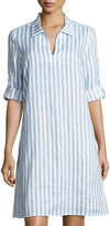 Neiman Marcus Long-Sleeve Striped Linen Dress, Blue/White