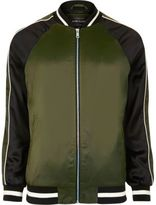 River Island MensGreen two tone light bomber jacket