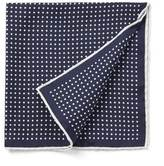 Silk Dots Pocket Square In Navy