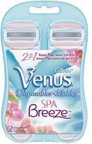 Gillette Venus Spa Breeze Women's Disposable Razor, 2 Count (Pack of 2)