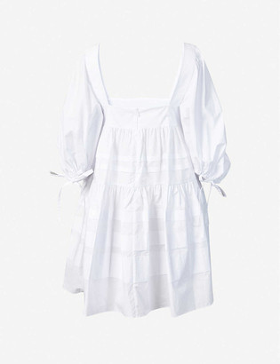 Paper London Martha puffed-sleeve cotton-poplin mini dress