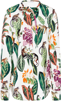 Oscar de la Renta Jungle Print Tie Neck Blouse