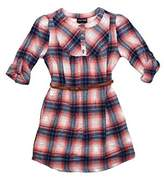 Paperdoll Big Girl's Roll Sleeve Plaid Flannel Shirt Dress By Paper Doll